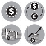 Iconos del negocio en blanco y negro Icono del vector del dólar Dólares del intercambio para los euros Fotografía de archivo