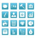 Iconos del negocio en cuadrados azules Fotografía de archivo libre de regalías