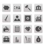 Iconos del negocio en cuadrados grises Fotos de archivo