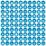 100 iconos del negocio fijados azules Foto de archivo