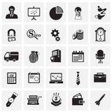 Iconos del negocio fijados en fondo stock de ilustración