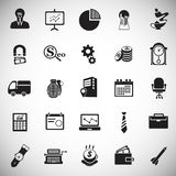 Iconos del negocio fijados en fondo libre illustration