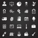 Iconos del negocio fijados en fondo ilustración del vector
