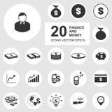 20 iconos del negocio, finanzas, sistema del icono del dinero. Fotos de archivo