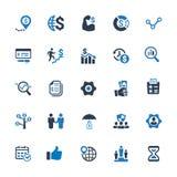 Iconos del negocio - la serie azul fijó 1 stock de ilustración