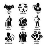 Iconos del negocio y de la gestión fijados stock de ilustración