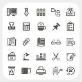 Iconos del negocio y de la oficina fijados Foto de archivo libre de regalías