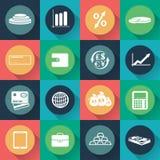 Iconos del negocio y de las finanzas en diseño plano Vector Fotografía de archivo libre de regalías