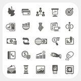 Iconos del negocio y de las finanzas fijados Fotos de archivo libres de regalías