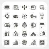 Iconos del negocio y de las finanzas fijados Fotografía de archivo libre de regalías