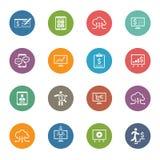 Iconos del negocio y del dinero fijados Diseño plano Imagen de archivo libre de regalías