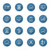 Iconos del negocio y del dinero fijados Diseño plano Sombra larga Imagenes de archivo