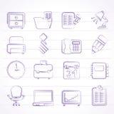 Iconos del negocio y del mobiliario de oficinas Foto de archivo libre de regalías