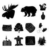 Iconos del negro de Canadá del país en la colección del sistema para el diseño Canadá y la señal vector el ejemplo común del web  Imágenes de archivo libres de regalías