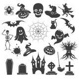 Iconos del negro de Halloween ilustración del vector