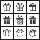 Iconos del negro de la caja de regalo del vector Fotografía de archivo libre de regalías