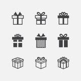 Iconos del negro de la caja de regalo del vector Imagenes de archivo