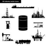 Iconos del negro de la industria de petróleo Imagen de archivo
