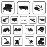 Iconos del negro de la maquinaria agrícola en la colección del sistema para el diseño Web de la acción del símbolo del vector del ilustración del vector