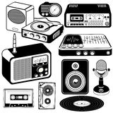 Iconos 2 del negro de la música del vintage Fotos de archivo libres de regalías
