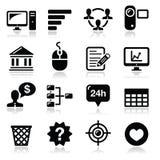 Iconos del negro de la navegación del menú Sitio Web fijados