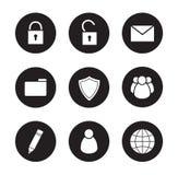Iconos del negro del encargado del fichero fijados Imagen de archivo libre de regalías