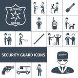 Iconos del negro del guardia de seguridad fijados Foto de archivo libre de regalías