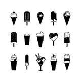 Iconos del negro del helado Imagen de archivo