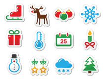 Iconos del negro del invierno de la Navidad fijados como escrituras de la etiqueta Imágenes de archivo libres de regalías