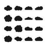 Iconos del negro del vector de la nube ilustración del vector