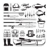 Iconos del negro del vector de la pesca Foto de archivo