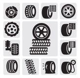Iconos del neumático Imágenes de archivo libres de regalías