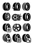 Iconos del neumático Imagen de archivo libre de regalías