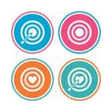 Iconos del objetivo de la blanco El tablero de dardos firma símbolos ilustración del vector