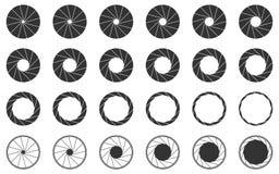 Iconos del obturador de cámara fijados ilustración del vector