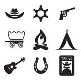 Iconos del oeste salvajes Imagen de archivo libre de regalías