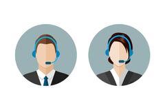 Iconos del operador de centro de atención telefónica Imagen de archivo