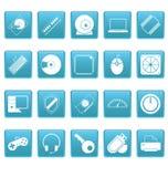 Iconos del ordenador en cuadrados azules Imagenes de archivo