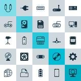 Iconos del ordenador fijados Colección de telclado numérico del ordenador, de videocámara, de estructura de red y de otros elemen Imagen de archivo libre de regalías