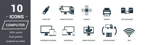 Iconos del ordenador fijados Colección superior del símbolo de la calidad Elementos simples del sistema del icono del ordenador L libre illustration