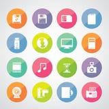 Iconos del ordenador y del almacenamiento fijados Fotografía de archivo libre de regalías