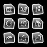 Iconos del organizador, etiqueta engomada negra ilustración del vector
