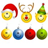 Iconos del ornamento de los smiley de Navidad ilustración del vector