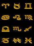 Iconos del oro del zodiaco Imágenes de archivo libres de regalías
