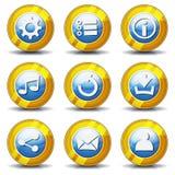 Iconos del oro para el juego de Ui Imagenes de archivo