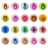 Iconos del oso de peluche fijados con la sombra larga Imágenes de archivo libres de regalías