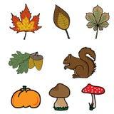 Iconos del otoño Imágenes de archivo libres de regalías