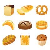 Iconos del pan ilustración del vector