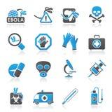 Iconos del pandémico de Ebola Imagenes de archivo