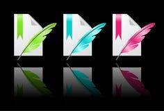 Iconos del papel coloreado con la pluma Imagenes de archivo